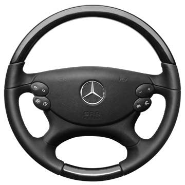 EuroActive Mercedes-Benz Genuine SL Class 2003-2012 R230 Black Ash Wood Steering Wheel OEM