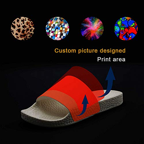 Printed Non-Slip Slipper Slides Flip Flop Sandals Summer Stylish for Womens Black
