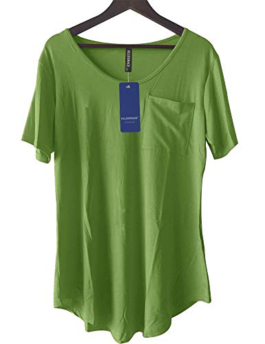Allegrace Womens Casual Scoop Collar Plus Size T Shirts Summer Tops Tee Avocado Green L