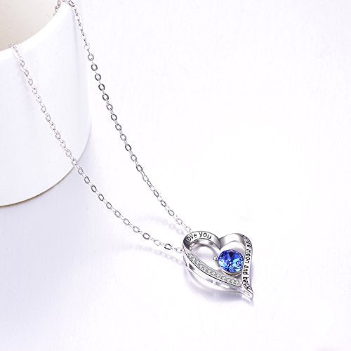 September Birthstone Necklace for Wife Birthday Gifts Women Blue Sapphire Jewelry I Love You to the Moon and Back Sterling Silver