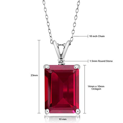 Gem Stone King 925 Sterling Silver Red Created Ruby and White Diamond Pendant Necklace (8.02 Ct Emerald Cut 14X10MM, with 18 Inch Silver Chain)