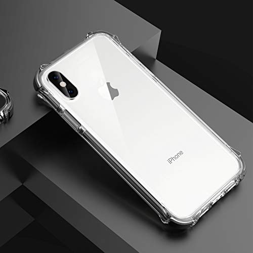"GPFILE Clear iPhone Xs Case, iPhone X/XS Protective Case Cover [4 Reinforced Corners] Shockproof Case with Air Cushion Bumper for iPhone X/XS 5.8"" 2018 Clear-Black"