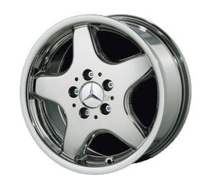 "18"" 5 Spoke""AMG Style"" Chrome Wheels for Mercedes Benz - Set of 4 with Lug Bolts and Center Caps"