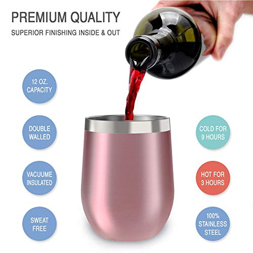 CHILLOUT LIFE 12 oz Stainless Steel Tumbler with Lid & Gift Box | Wine Tumbler Double Wall Vacuum Insulated Travel Tumbler Cup for Coffee, Wine, Cocktails, Ice Cream - for Indoor & Outdoor Use