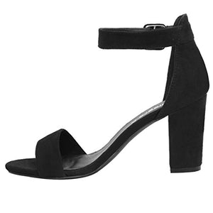 Allegra K Women's Open Toe Chunky High Heel Ankle Strap Sandals (Size US 11) Black