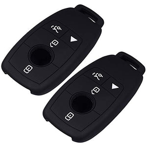 Lcyam Silicone Remote Key Fob Covers Smooth Soft Rubber Case Fits for Mercedes-Benz A220 E63S AMG E-Class GLE 350 4MATIC 2019 2020 2021 (Black Black)