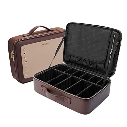 "Women Rivet Train Case Makeup Organizer with Brush Compartment Waterproof Travelling Cosmetic Bag 16""x11.4""x4.3"""