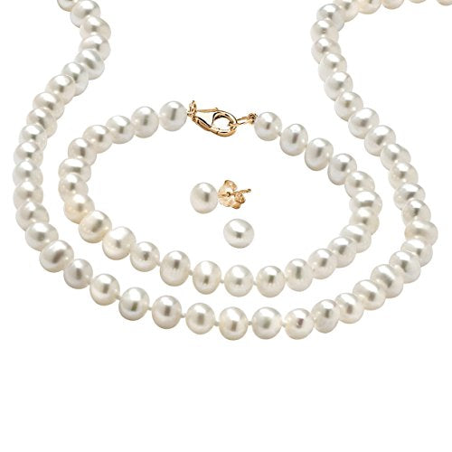 14K Yellow Gold over Sterling Silver Round Genuine Cultured Freshwater Pearl 3 Piece Pearl Set, 18 inches