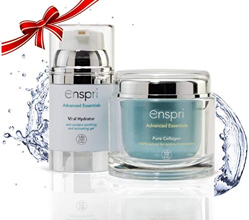 Enspri Ultra PURE Collagen Peptides Powder Mask: 5-Min Anti-Aging Facial Kit, 25 treatments 2 Step System including Vital Hydrator Anti-aging, reduce age spots, shrinks pores and increased elasticity