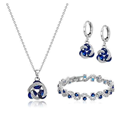 "Blue Simulated Sapphire Zirconia Crystals Jewelry Set Pendant Necklace 18"" Earrings Bracelet 18K White Gold Plated"