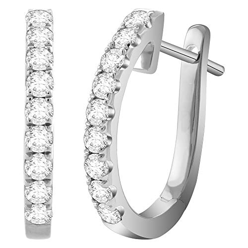 14K White Gold 1/4 Carat (H-I Color, SI2-I1 Clarity) Natural Diamond Huggie Hoop Earrings for Women