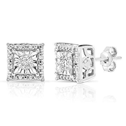 Sterling Silver Princess-Round Halo 1/4ctw Diamond Stud Earrings