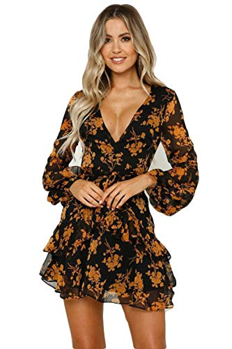ROVLET Women's Sexy Floral Dress Long Sleeve V Neck Ruffle Boho A line Mini Dress Party Beach (Medium, Yellow)