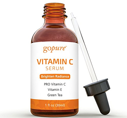 goPURE Vitamin C Serum for Face - With Hyaluronic Acid, Vitamin E, Organic Aloe
