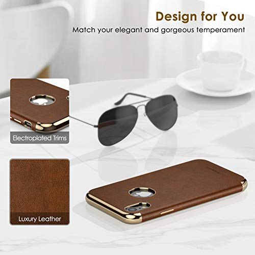 "LOHASIC iPhone XR Case, Slim Fit Luxury Leather Cover Flexible Soft Grip Non-Slip Bumper Shockproof Scratch Resistant Full Body Protective Phone Cases for Apple iPhone XR (2018) 6.1""- Brown"