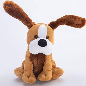 Hausger Peek A Boo Stuffed Singing Puppy Plush Dog with Floppy Ears Animated Christmas Funny Toys for Baby Kids