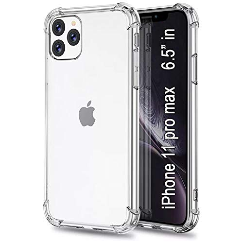 PowerTED Compatible with iPhone 11 Pro Max Clear Case 6.5 inch - Reinforced Air Cushion Corners with Shockproof Bumper - Cover Shock Absorption - Cases (2020) Crystal Clear