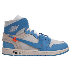 Nike Mens Air Jordan 1 X Off White NRG UNC White/Dark Powder Blue Leather Size 5.5