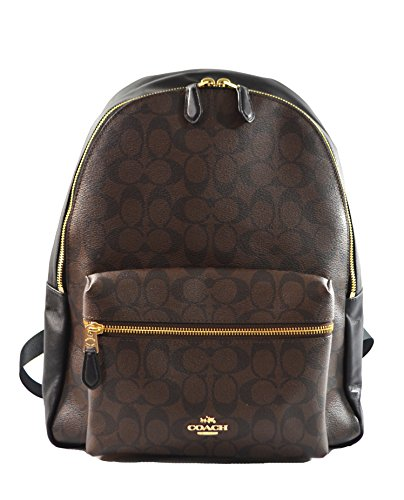 Coach Pebbled Leather Backpack F37410 Black (Black Brown)