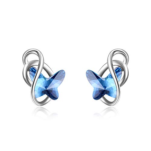 AOBOCO Sterling Silver Infinity Butterfly Earrings, Crystal from Swarovski, Hypoallergenic Stud Earrings, Anniversary Birthday Butterfly Jewelry Gifts for Women(Blue)