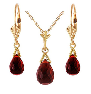 "Galaxy Gold 14k Yellow Gold Jewelry Set: Natural Briolette Garnet 24"" Pendant Necklace and Dangle Earrings"