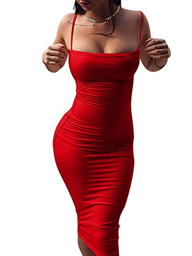 GOBLES Women's Sexy Spaghetti Strap Sleeveless Bodycon Mid Club Dress (S, Red)