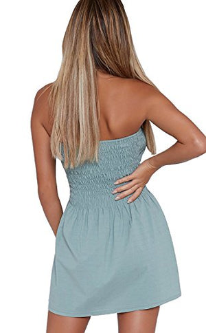 Angelegant Tube Top Dress Women Sexy Strapless Mini Dress Sleeveless Summer Dresses (M, Mint)