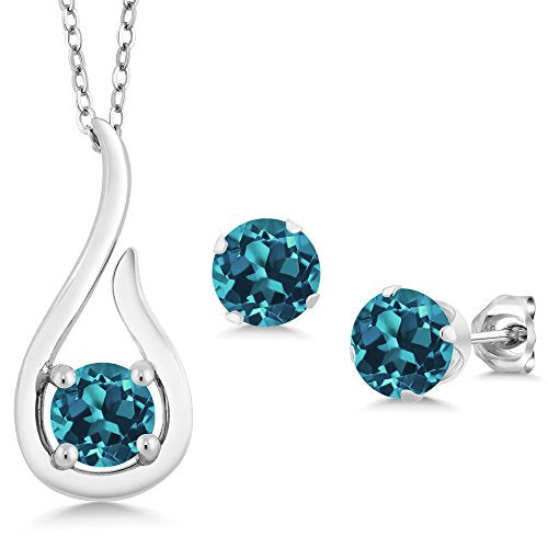 Gem Stone King 1.65 Ct London Blue Topaz Gemstone Birthstone 925 Sterling Silver Pendant Earrings Set With 18 Inch Silver Chain