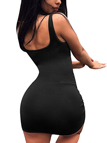 BEAGIMEG Women's Casual Basic Sleeveless Tank Top Bodycon Mini Club Dress Black