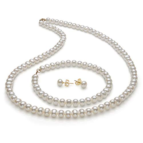 14K Gold 5.0-6.0mm Freshwater Pearl Necklace Bracelet Stud Earring Set,18""