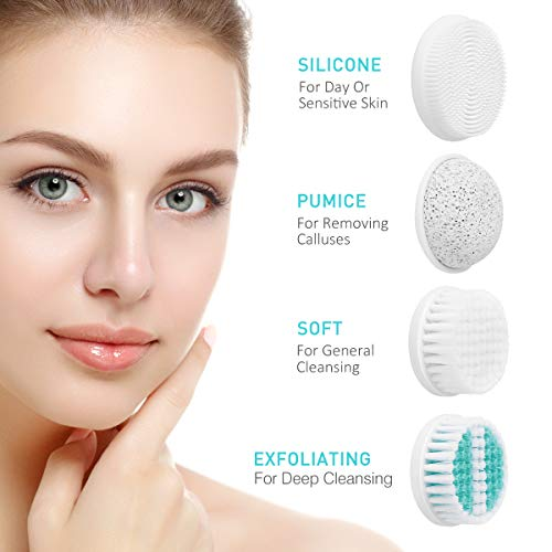 【2020 Upgraded】ETEREAUTY Facial Cleansing Brush, Waterproof Face Brush with 4 Brush Heads and a Protective Travel Case - Deep Cleansing, Gentle Exfoliating, Removing Blackhead for Face and Body, Cyan