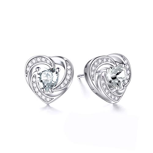 925 Sterling Silver Halo Heart Stud Earrings with Clear Swarovski Crystals, April Birthstone Jewelry, Anniversary Valentine's Birthday Jewelry Gifts for Women