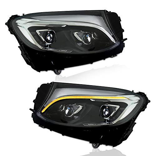 A&K Led Headlight Assembly for Mercedes Benz GLC250 W253 2016 2017 2018 2019 Driver and Passenger Side (Only Suitable for Benz with OEM Halogen Light)