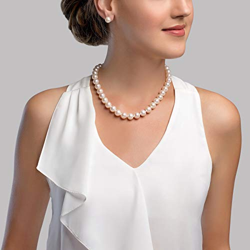 "THE PEARL SOURCE 14K Gold 10.5-11.5mm AAA Quality Round White Freshwater Cultured Pearl Necklace for Women in 18"" Princess Length"