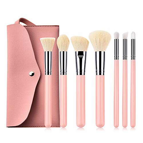 Pro 7pcs Makeup Brushes Kit with PU Bag Makeup Brush Wood Pink Handle