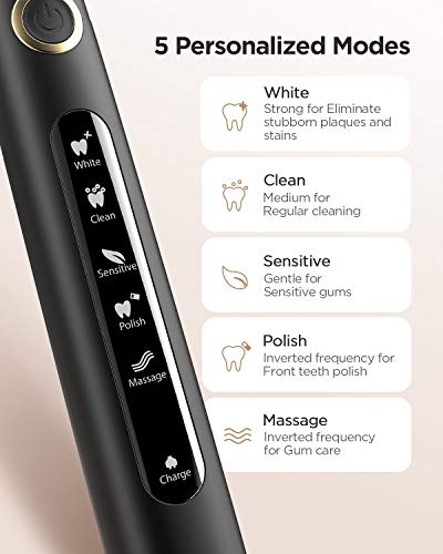 Electric Toothbrush Powerful Sonic Cleaning - ADA Accepted Rechargeable Toothbrush with Timer, 5 Optional Modes, 3 Brush Heads, 4 Hr Charge Last 30 Days Whitening Sonic Toothbrush for Adults and Kids