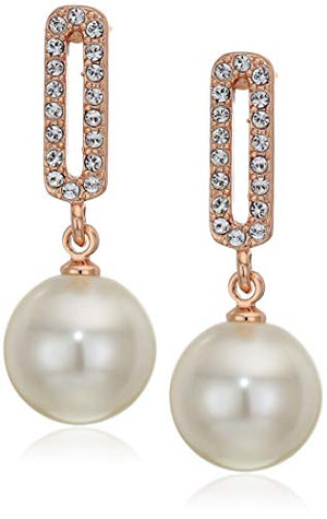 Rose Gold Jewelry: Swarovski Crystal Simulated White Pearls Necklace and Jewelry Set Set for Women - Wedding Party, Bridal and Bridesmaid Accessories - 18K Rose Gold Plated Earring Sets