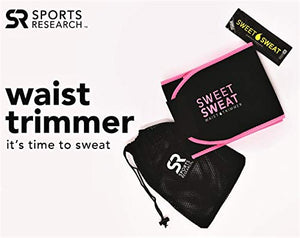 "Sports Research Sweet Sweat Premium Waist Trimmer (Pink Logo) for Men & Women ~ Includes Free Sample of Sweet Sweat Gel! (SM: 8"" Width x 35"" Length)"