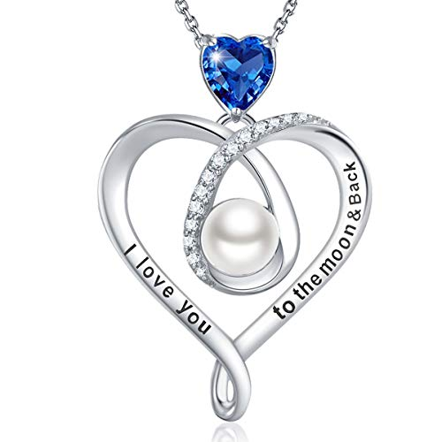 Birthday Gifts for Wife Mom September Birthstone Blue Sapphire Necklace for Her Sterling Silver Love Heart Pearl I Love You to the Moon and Back Jewelry for Women
