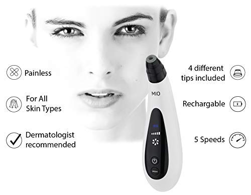 Spa Sciences MIO Diamond Microdermabrasion Blackhead Remover, Pore Suction Tool–Rechargeable-Dermatologist Recommended Skin Resurfacing System for Anti-Aging-Exfoliator for Acne Scars/Wrinkles