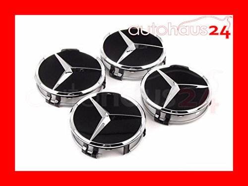 MERCEDES-BENZ BLACK WITH CHROME WHEEL CENTER HUB CAP NEW OEM GENUINE Set of 4