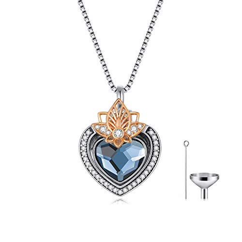 AOBOCO Lotus Flower with Heart Cremation Jewelry 925 Sterling Silver, Engraved Forever in My Heart Keepsake Urn Necklace for Ashes, Memorial Jewelry Gift for Women, Crystal from Swarovski