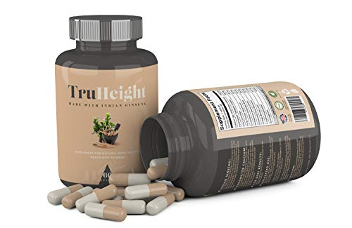 "Height Growth Formula - Grow Taller Supplement - Supplement for Natural Bone Growth - Height Pill Supplement - Keto & Vegan with Indian Ginseng ""Ashwaganda"" & Nanometer Calcium - TrueHeight (60ct)"