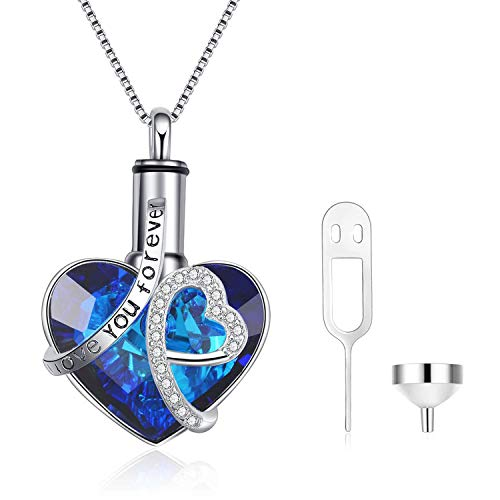 "AOBOCO Heart URN Necklace Engraved""I love you forever"" Sterling Silver Cremation Necklace for Ashes, Blue Crystal from Swarovski, Fine Keepsake Memorial Ashes Necklace Cremation Jewelry for Ashes"
