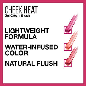 Maybelline Cheek Heat Gel-Cream Blush Makeup, Lightweight, Breathable Feel, Sheer Flush Of Color, Natural-Looking, Dewy Finish, Oil-Free, Pink Scorch, 0.27 Fl Oz