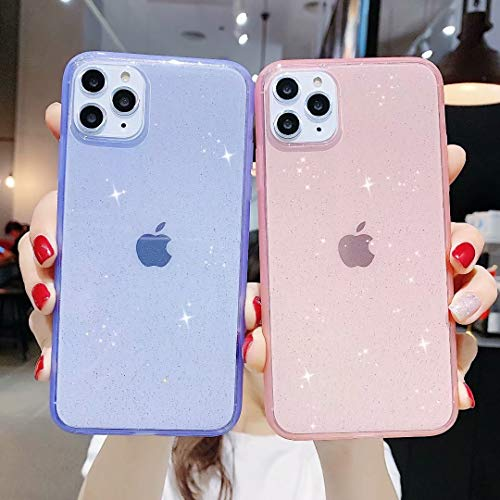 iPhone 11 Pro Max Case Glitter,Anynve Clear Glitter Sparkle Bling Case [Air Cushion Anti-Shock Matte Edge Bumper Design] Cute Slim Soft Silicone Gel Case Compatible for iPhone 11 Pro Max 6.5''-Black