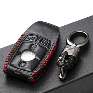 Vitodeco Genuine Leather Smart Key Fob Case with Leather Key Strap for 2017-2021 Mercedes-Benz A, C, E, S, CLA, CLS, GLA, GLB, GLC, GLE, GLS, G Glass (4-Button, Black/Red)