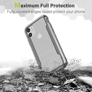 iPhone 11 Case, KAERSI Hybrid Case Cover Clear for 2019 Apple iPhone 11-6.1inch, Military Grade Anti-Drop and Shockproof TPU+PC+Aluminum Protection Cases with Soft Edges Non-Slip