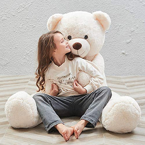 MaoGoLan MorisMos 47 inch Giant Teddy Bear Stuffed Animals Plush Cute Soft Toys Teddy Bear for Girl Children Girlfriend Valentine's Day White 1.2M