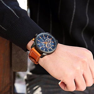 Mens Water Resistant Sport Chronograph Watches Military Multifunction Leather Quartz Wrist Watches (Black Blue)
